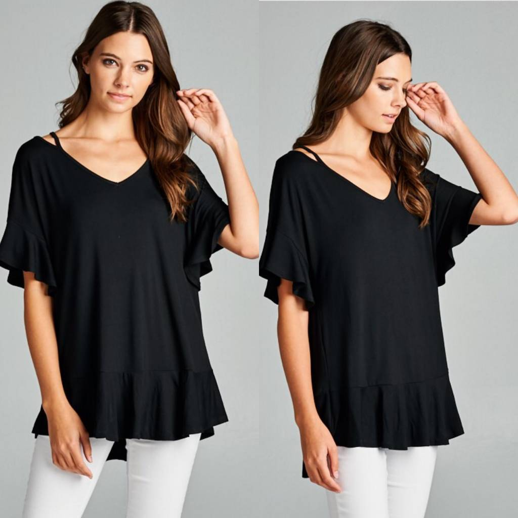 Ruffle Sleeve Top with Strap Detail