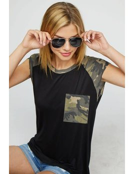 Black Tee with Camouflage Pocket and Sleeves