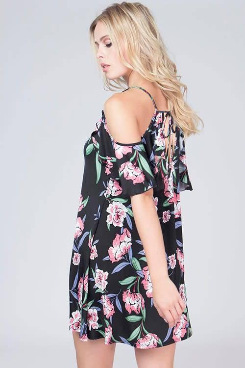 Floral Cold Shoulder Silky Dress