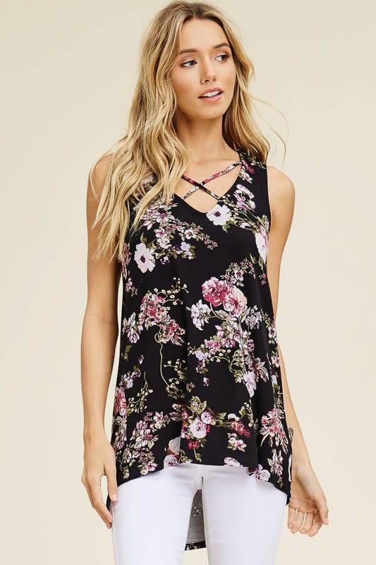 Floral Sleveeless Top with X Front