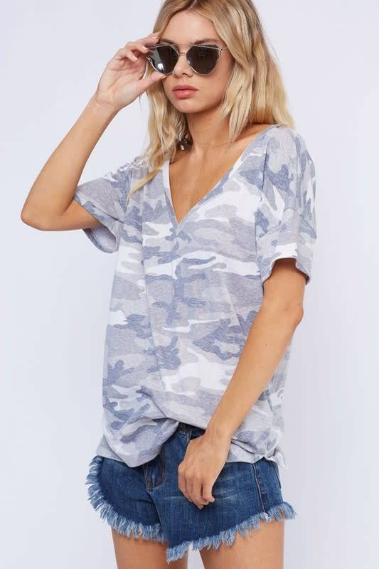 Two Way Camouflage Strappy Front Top