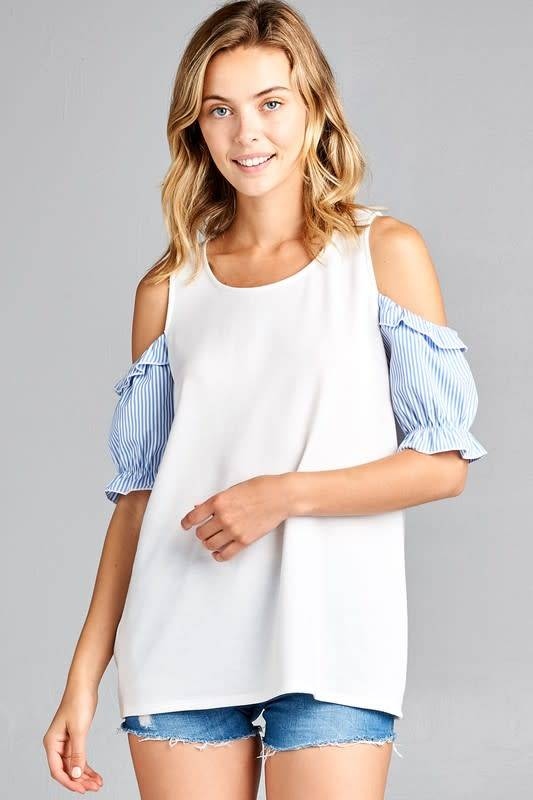 Cold Shoulder Top with Stripe Ruffle Sleeve