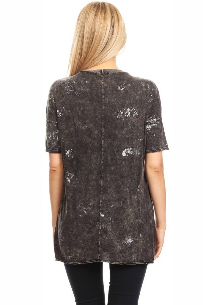 Splatter Top with Lace Up Neck