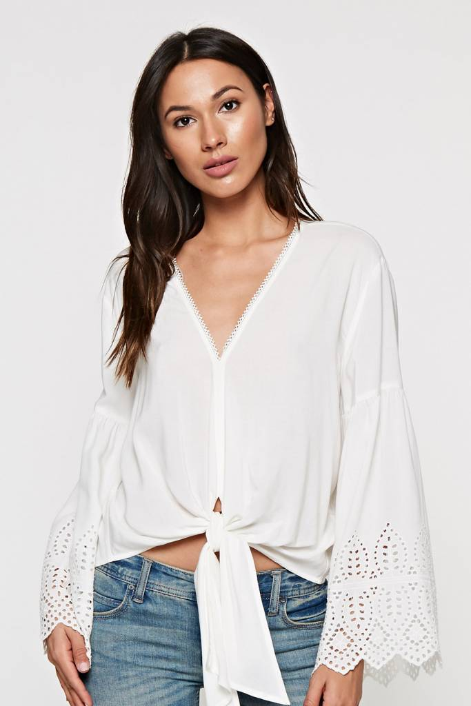 Eyelet Detail Tie Front Top