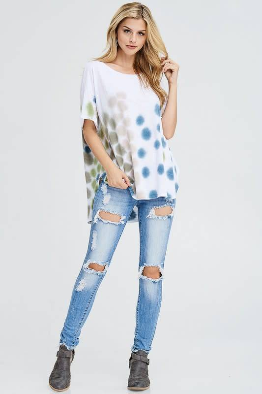 Polka Dot Cotton Tie Dye Tee