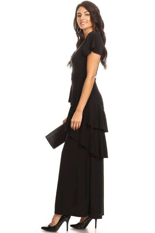 Maxi Length Ruffle Tiered Dress with Front Slit