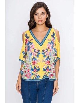 Cold Shoulder V Neck Floral Print Top