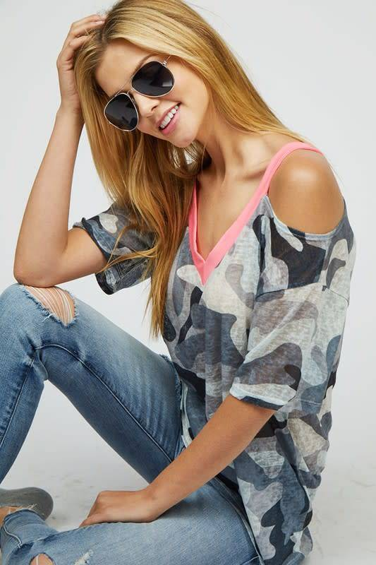 Camo Tee with Contrast V Neck