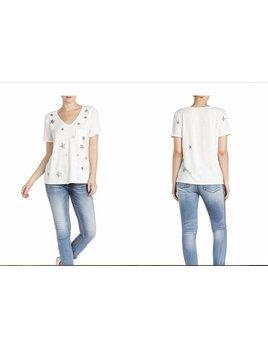 Star Print Short Sleeve Top