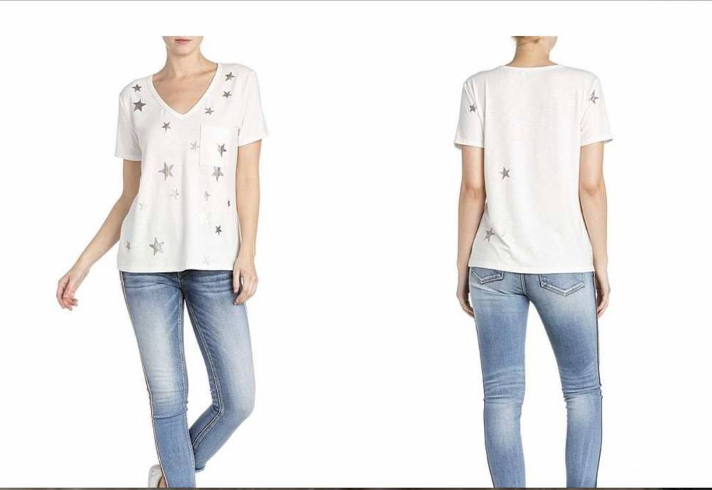 Star Print Short Sleeve Top