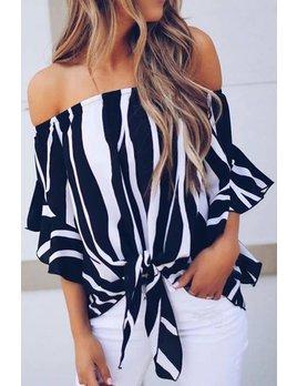 Zebra Print Off Shoulder Blouse