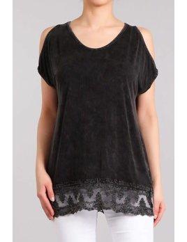 Mineral Wash Cold Shoulder Lace Hem Tunic