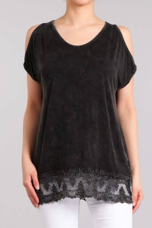 Mineral Wash Cold Shoulder Lace Hem Tunic