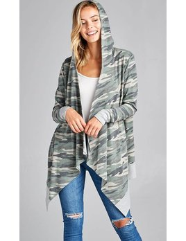 Camouflage Cardigan with Hoodie