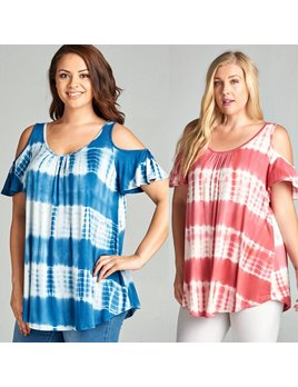 Tie Dye Cold Shoulder Tee Shirts