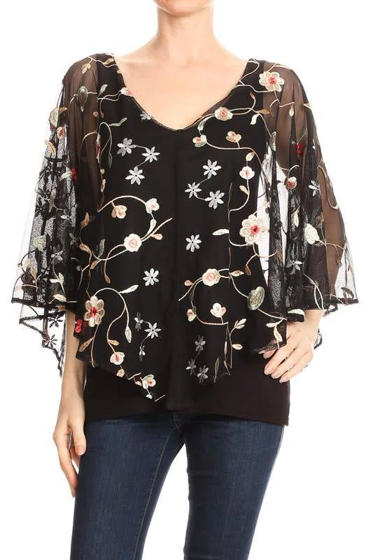Floral Embroidered Mesh Overlay Top