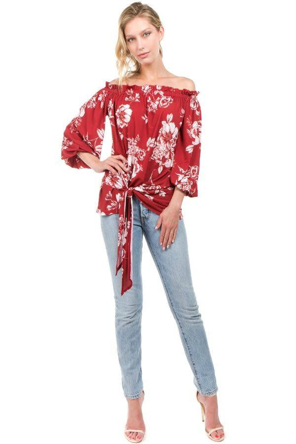 Floral Print Off Shoulder Top with Tie Front