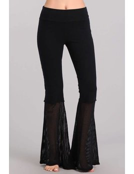 Mesh Hem Bell Bottom Pants