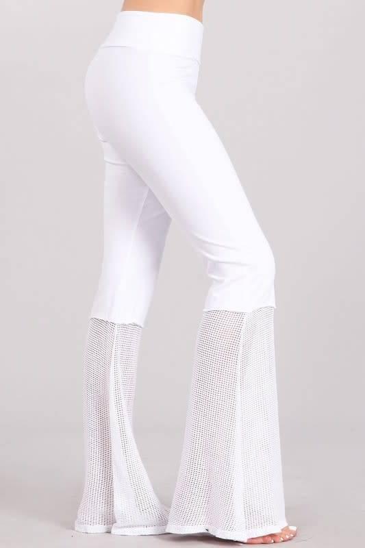 Mesh Hem Bell Bottom Pants