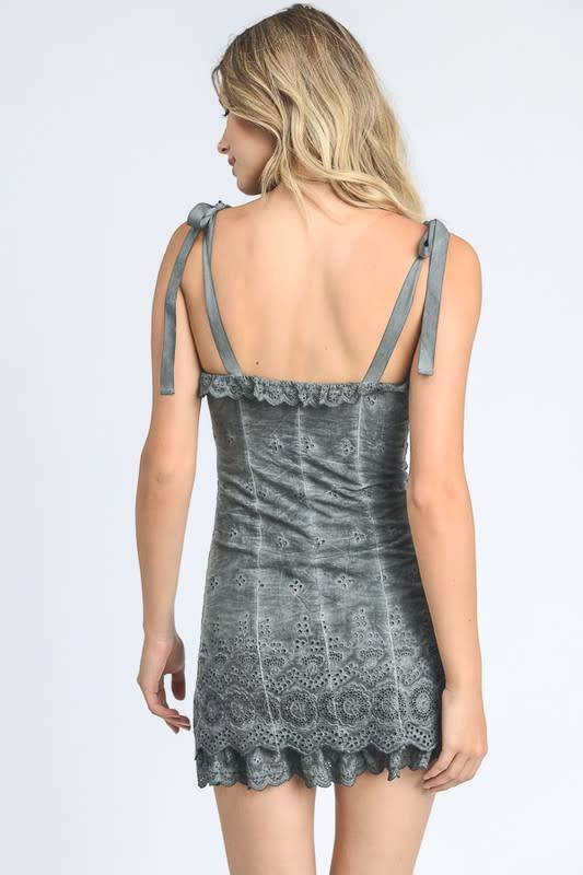 Lace and Eyelet Dress with Tie Straps