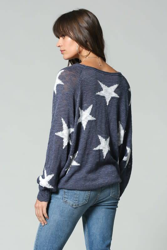 Star Print V Neck L/S Top
