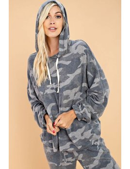 Camo Print Brushed Knit Hoodie