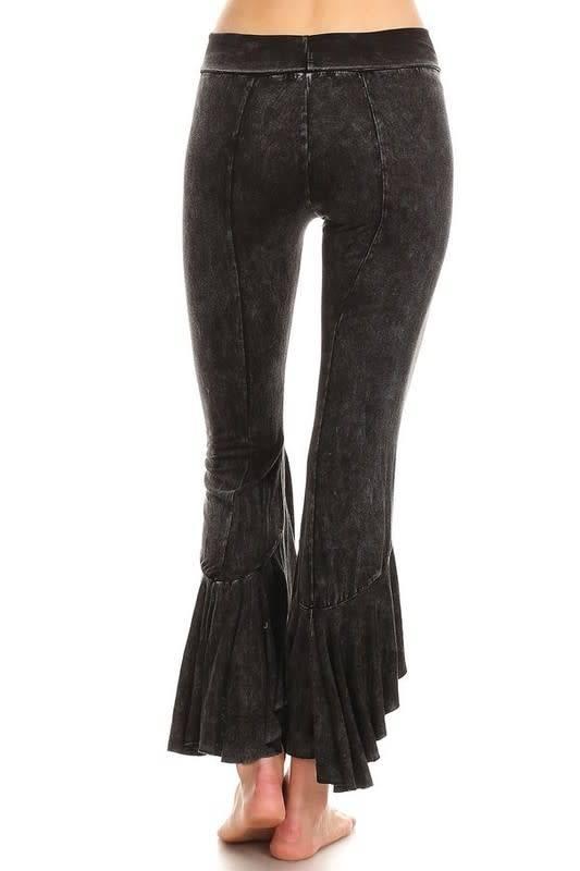 Ruffle Hem Hi-Lo Flare Pants