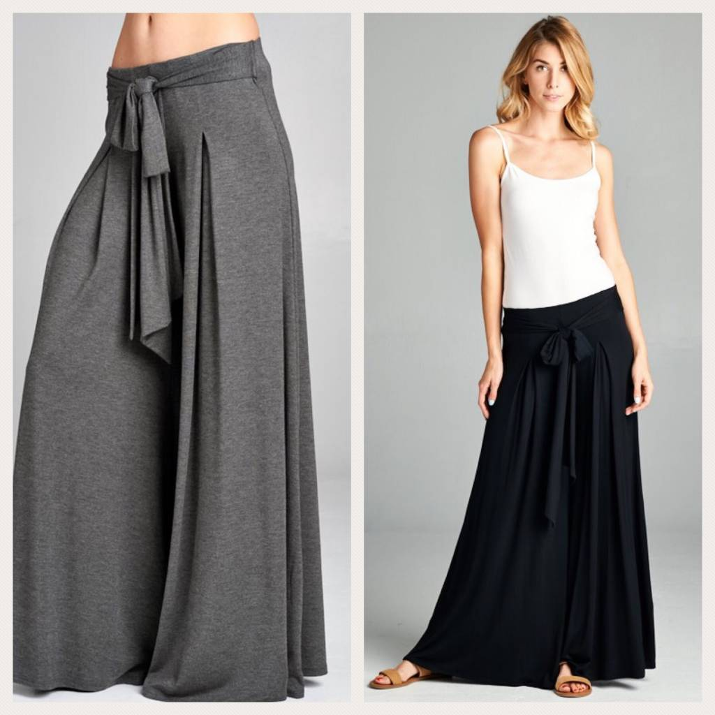 High Waist Tie Palzzo Pants