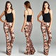 Floral Print Fitted Flare Pants