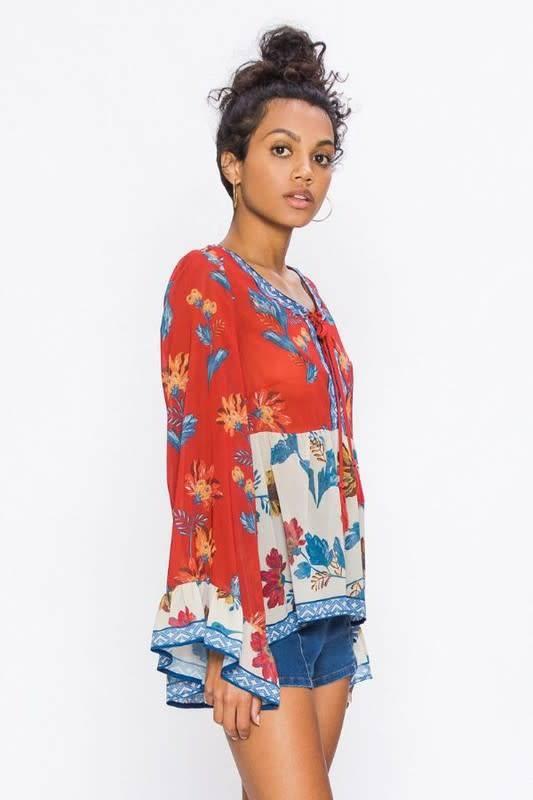 Floral Print Peasant Top