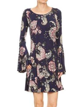 Bell Sleeve Grommet Detail Dress
