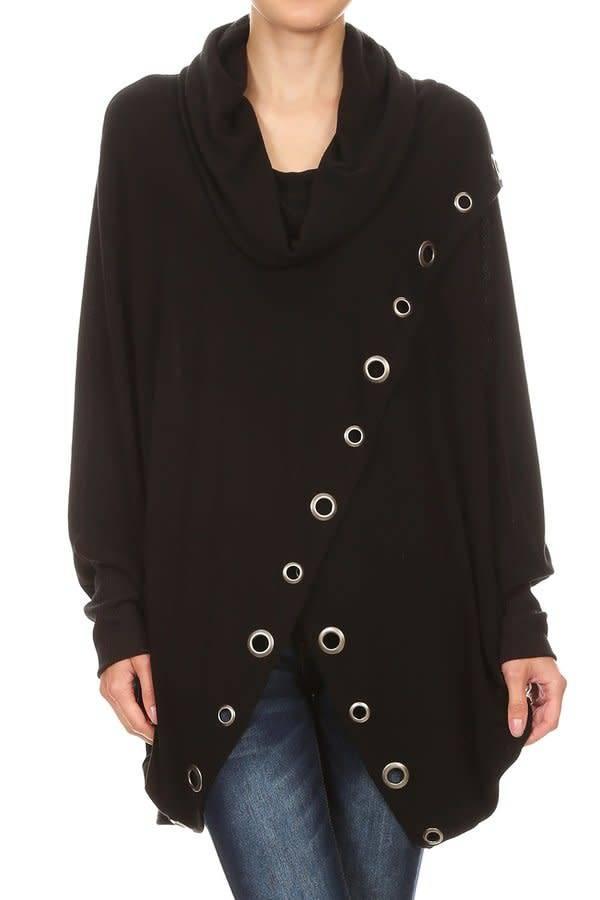Cowl Neck Uneven Hem Grommet Sweater