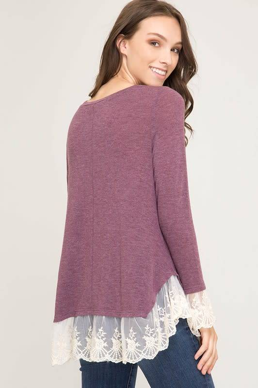 Knit Top with Lace Hem
