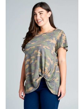 Camo Print Side Knot Tee with Flutter Sleeves