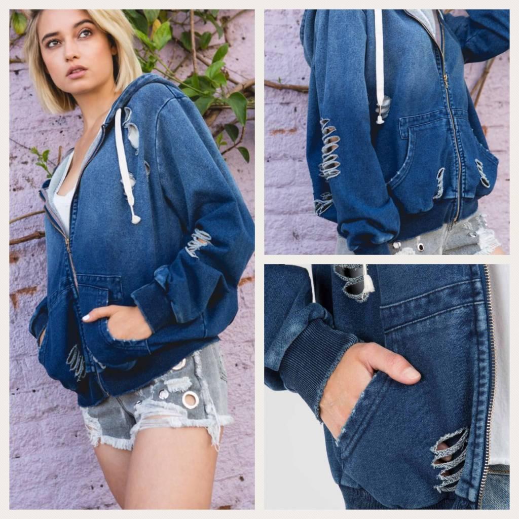 Distressed Zip Up Hoodie Jacket