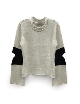 Elbow Slit Colorblock Sweater