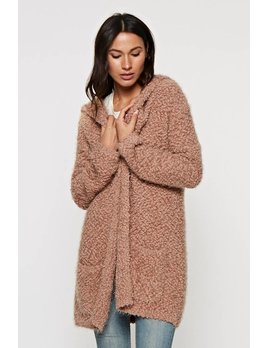 Soft Hooded Open Cardigan