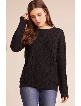 Cableknit Sweater with Slit Sleeves