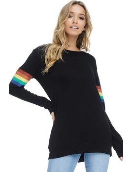 French Terry Rainbow Sleeve Detail Top