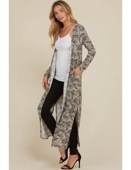 Camouflage Long Cardigan with Pockets