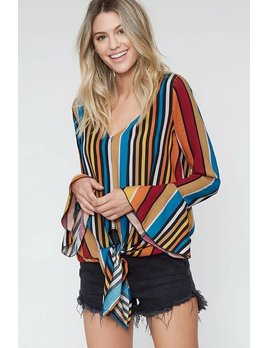 Multi Stripe V Neck Top With Bell Sleeves