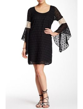 Crochet Detail Bell Sleeve Dress