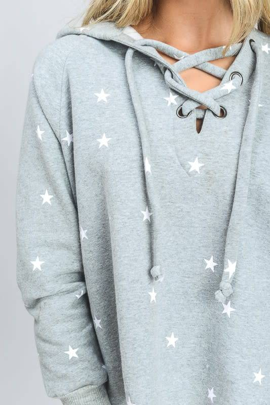 Star Sweatshirt with Strappy Front