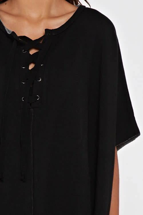 French Terry Tie Front Poncho