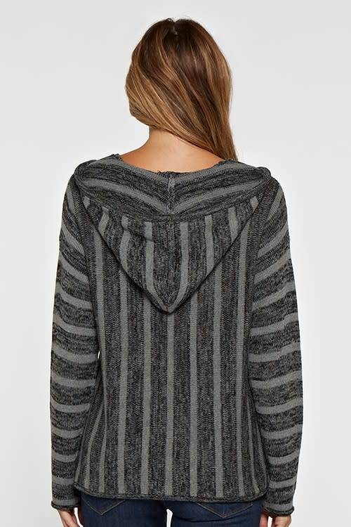 Stripe Knit Hooded Sweater