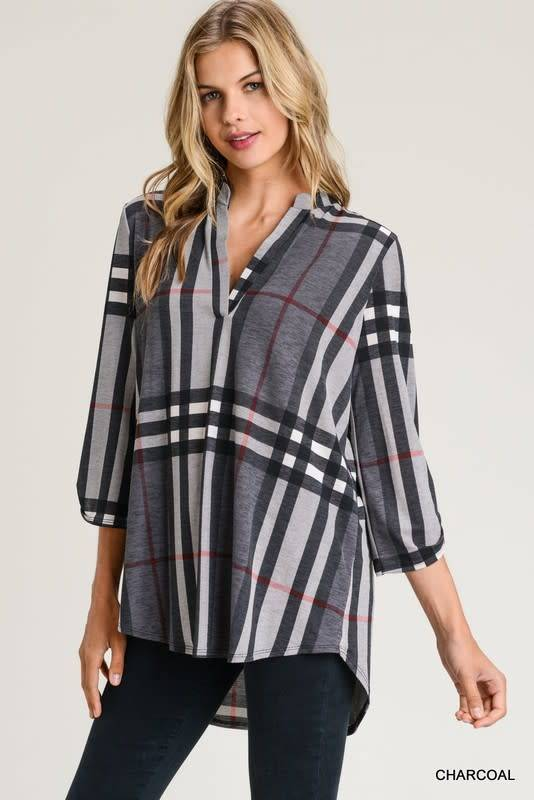 Plaid and Checkered 3/4 Sleeve Top