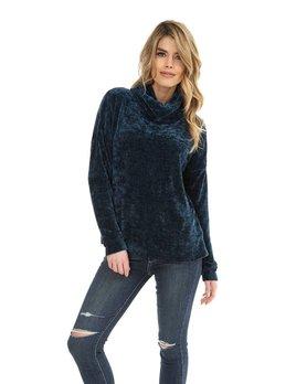 Flunnel Neck Chenille Sweater