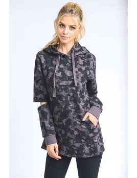 Camo Hoodie With Cutout Elbow