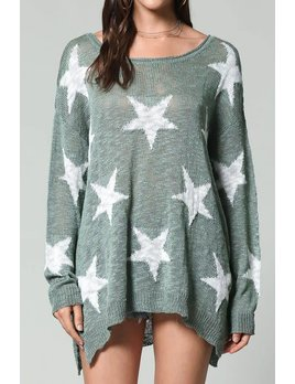 Star Print Round Neck Sweater