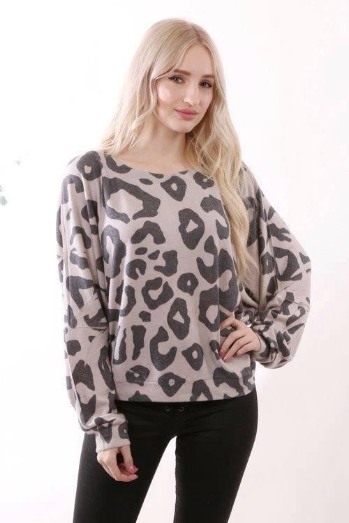 Animal Print Soft Knit Top